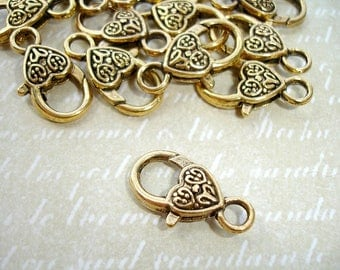 6 Antique Gold Lobster Clasps Large Carved Heart
