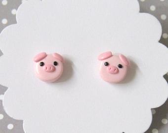 Pig Earrings, Pink Earrings, Hypoallergenic Nylon Posts, Cute Stud Earrings, Dainty Pink Earrings, Kawaii, Pet pig gift