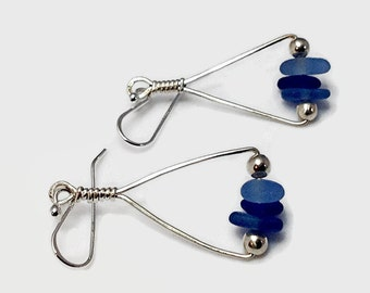 Blue Sea Glass Earrings with Sterling Silver Wire, Ocean Inspired Beach Glass Jewelry