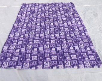 """fleece baby 30"""" X 38"""" receiving blanket made from purple Love and heart fabric"""