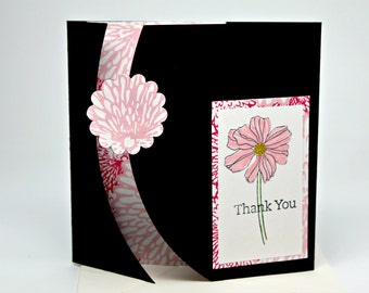 Thank You Greeting Card- Gift Card Holder-Handmade Gift Certificate Holder-  One of a Kind