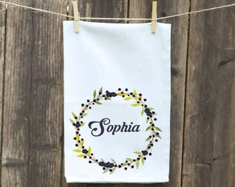 Wedding Wreath Floral Towel Blueberries Kitchen Towel, Flour Sack,Tea-Dish-Hand-Kitchen-Blueberries Flowered Wreath-Choose Initial or Name