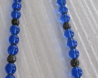 Blue Glass Beaded Necklace with filigree silver balls