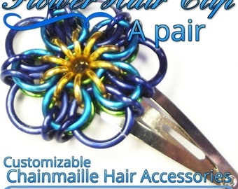 Flower Hair Clips | a pair (2) | Custom Colored Handcrafted Hair Accessory