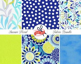 LIME AQUA & BLUE Floral Fabric Bundle by the Yard, Fat Quarter Bundle Leaves Flowers Dots Fabric 100% Cotton Quilting Fabric Apparel Fabric