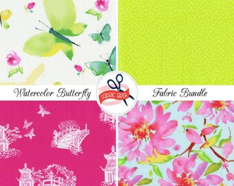 WATERCOLOR FLORAL & BUTTERFLY Fabric Bundle Fabric by the Yard Fat Quarter Pink Butterflies 100% Cotton Quilting Fabric Apparel Fabric Kit