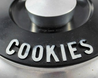 Kromex Spun  Aluminum Cookie Jar