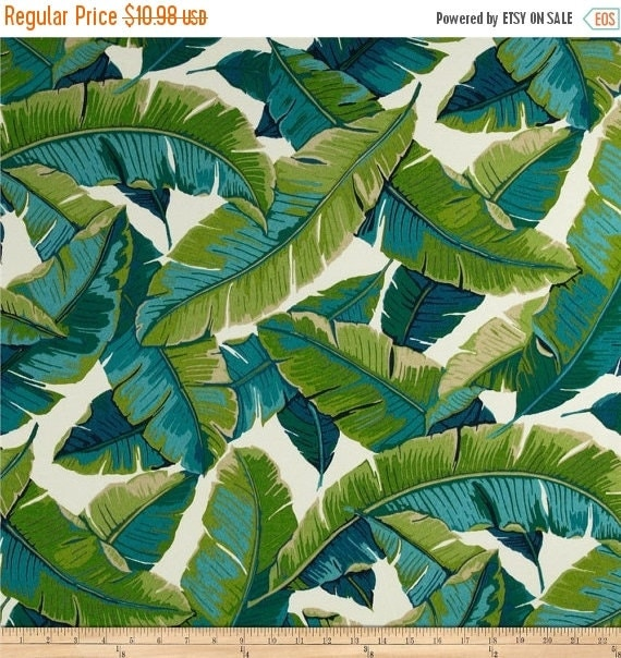 Miami Style Tropical Palm Leaves Outdoor Fabric By