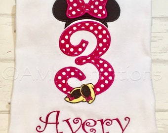 Pink or Red Minnie Mouse Birthday Number with Shoes Applique Shirt or Onesie Personalized for Girls