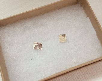 Sterling Silver Square Studs - Hammered