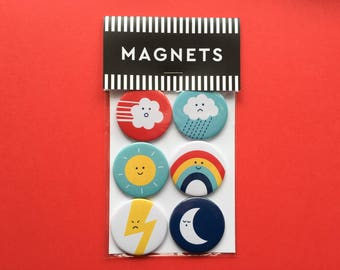 Weather moods fridge magnets; gift packaged set of six different weather magnets. Stocking filler, party bag filler.