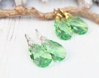 Sterling Silver 24k Gold Plated Swarovski Earrings-Teardrop Earring-Swarovski Crystal Jewellery-Peridot Green Bridesmaids Dangle Earrings