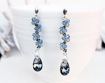 Long Sterling Silver Swarovski Earrings-Beaded Dangle Swarovski Earrings-Silver Night Teardrop Crystal Earrings-Wedding Bridesmaids Earring