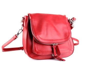 Leather Handbag / Leather Bag / Red Leather Handbag / Red Leather Bag / Leather Messenger Bag / Red Leather Messenger Bag / Leather Shoulder