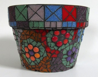 Multicolor Mosaic Flower Pot-home decor-garden decoration-planter-patio decoration-indoor gardening-outdoor gardening-home and living