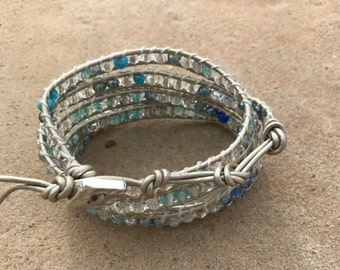 Wrap Bracelet Silver Leather with Shades of Blue Beads - Chan Luu Style