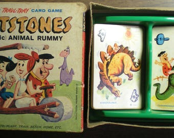 Flintstones (Pre-Historic) Animal Rummy Vintage Card Game (1961) by Travl-Tray