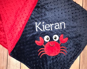 Crab - Personalized Minky Baby Blanket - Red / Navy  Minky - Embroidered Minky Crab