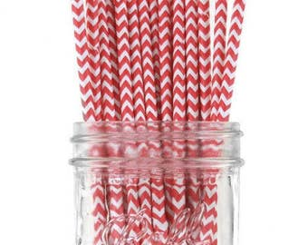 Set of 12 - Cake Pop - Party Straws - Red Chevron - CPS1040