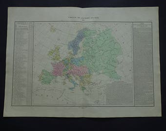 EUROPE old map of Europe 1835 LARGE original antique print of European continent Denaix big vintage maps - carte de l'Europe Europa karte