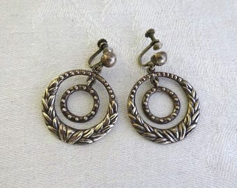 Vintage Sterling Silver Earrings, Taxco,  Large, Double Hoop, Screw Back, Signed, Silver Stamped, Frida Kahlo, Mid Century