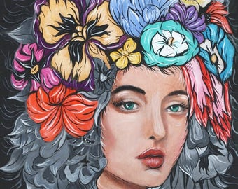 Beautiful Woman with a Flower Wreath and Ghost Flower Hair