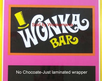 Replica-LAMINATED 7 oz. sized Willy Wonka Wrapper (ONLY)-Golden Ticket sold separately