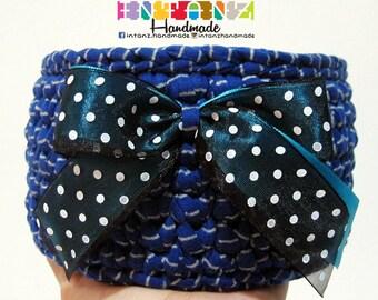 Blue | Stripe | Tshirt Yarn Basket | Crochet