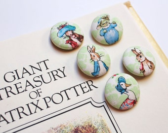 Peter Rabbit Buttons Fabric Covered Button Beatrix Potter Fabric Size 45 Bunny Nursery 1 1/8 inches Kitten Jemima Puddle Duck Pillow