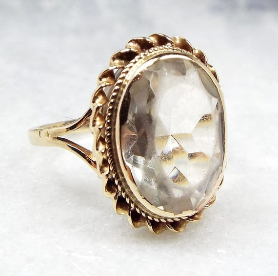 Vintage 1989 9ct Yellow Gold Statement Large White Topaz Rope Border Ring Size P 1/2