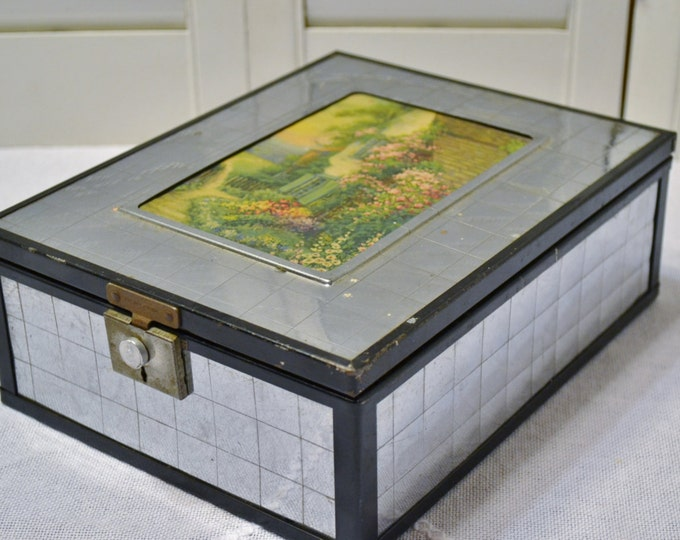 Vintage Chromium Plate Mirrored Box English Cottage Insert Jewelry Trinket Storage Box PanchosPorch