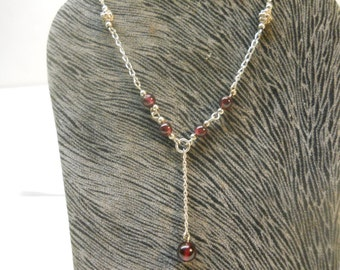 Garnet Stone Crafted Solid Sterling Silver 925 Y Necklace