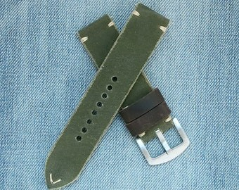 22mm canvas green strap, canvas watch strap, Green watch band, vintage military green, watch straps, green strap, rustic strap, green canvas