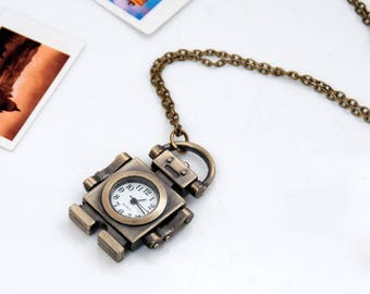 Vintage style pocket watch necklace pendants,steam punk watches necklace,robot watch necklaces supplies P22