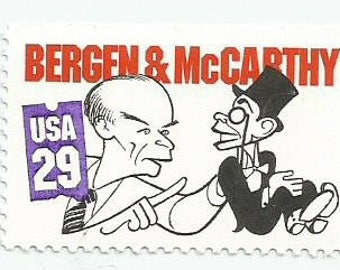 1 Mint Bergen and McCarthy Postage Stamp using Al Hirschfeld Drawing