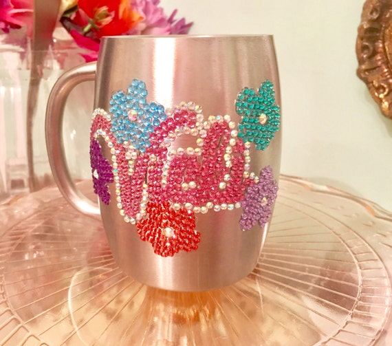 Stainless Steel Coffee Cup with Rhinestone Name and Flowers