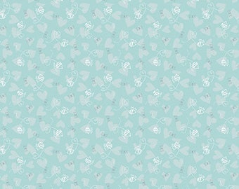 David Walker fabric Sweetheart Bee Love DW117 Aqua blue white grey hearts 100% Cotton Sew Quilting Crafts nursery children by the yard