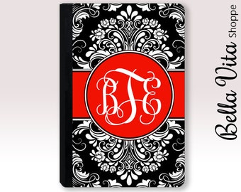 Personalized iPad Case, Monogrammed Pretty Black Red Damask Leather 2002