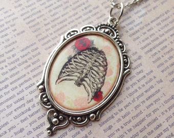 Ribcage with Roses Cameo Necklace/Goth/Gothic/Victorian/Bones/Skeleton/Pinup/Rockabilly/Macabre/Anatomy/Horror
