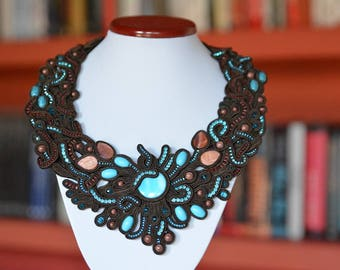 Australian coast - soutache necklace
