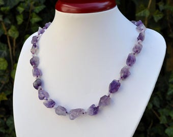 Raw amethyst necklace. Women's necklace. Purple necklace