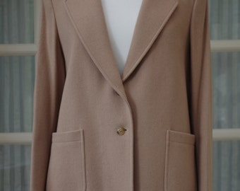 Vintage Jaeger Wool & Camel Hair Jacket 1980s Size 14