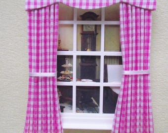 Miniature doll house  curtains drapes with pelmet pink gingham various sizes