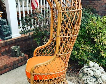 Vintage rattan bamboo hooded dome chair - porter - fan back