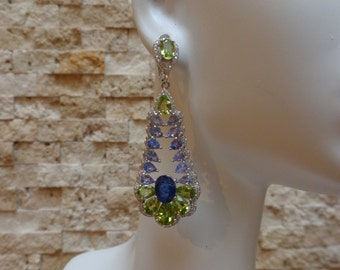 Natural Blue Sapphire, Peridot and Tanzanite earrings in Sterling Silver with pave cz