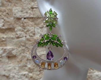 Amethyst, Chrome Diopside, Citrine, Opal and Peridot earrings in Sterling Silver with pave cz