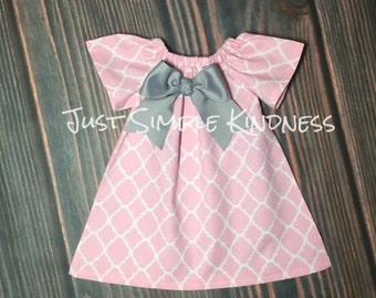 Girls Dresses, Girls Easter Dress, Girls Pink Gray Dress, Baby Easter Dress, Baby girls dresses, Pink Quatrefoil Dress, Girls Pink Gray Dres