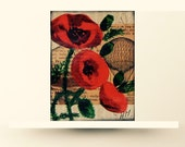 Red Poppies. Aceo original poppies, ACEOs card, original acrylic painting, miniature Art ACEO, painting original, limited edition