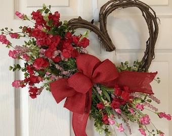 VALENTINES WREATH,Heart Grapevine Wreath, Valentine Wildflower Wreath,Baby Girl Wreath,Valentine Wreath,Wildflower Wreath,Mothers Day Wreath