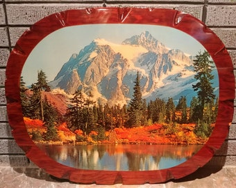 Large Vintage Decoupage Lacquered Wood Slab Wall Hanging with Mountain Lake Landscape Photograph. Mid Century, Kitsch, Cabin, Lodge, Decor.